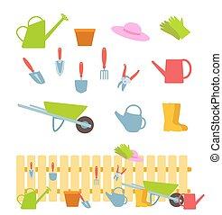 fence., セット, 園芸, 平ら, イラスト, ベクトル, 白, 道具, 構成