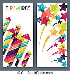 fireworks., カラフルである, 縦の旗, 休日, 光沢がある, 有色人種
