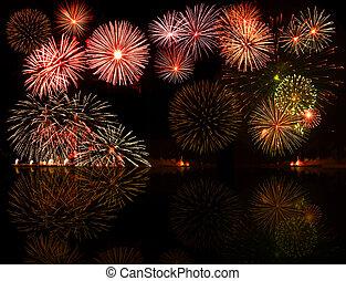 fireworks., セット, e.g.2012, カラフルである, テキスト, オブジェクト, 中心, あなたの, よい, 数, 年, ∥あるいは∥