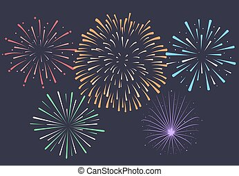 fireworks., 破烈, 夜, 記念日, 背景, 花火, v
