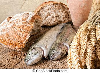 fish, ワイン, bread