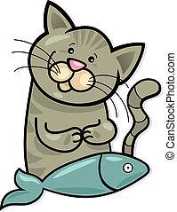 fish, 幸せ, ねこ
