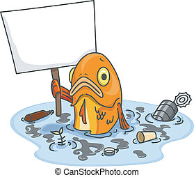 fish, 汚される, 水, 板, ブランク, 悲しい