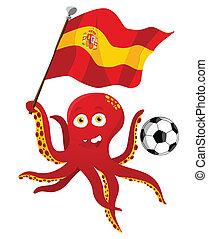 flag., プレーヤー, 保有物, サッカー, タコ, スペイン