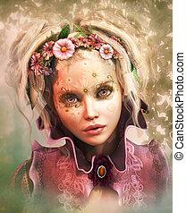 flowerface, cg, 3d