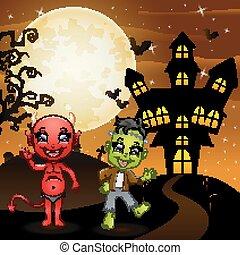 frankenstein, 悪魔, ハロウィーン, 赤い背景