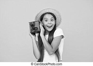 friday., 箱, 休日, birthday, this., プレゼント, childhood., プレゼント, 夏, 黒, 余分, 割引, girl., sales., concept., 買い物, 何か, celebration., 幸せ, 十代, 出産, 贈り物, bonus.