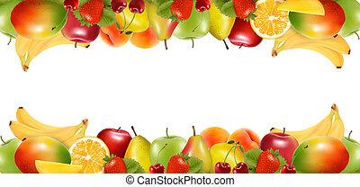 fruit., おいしい, ボーダー, 熟した, 2, vector., 作られた