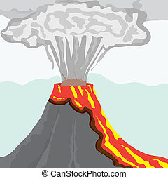 fuming, コラム, 大きい, 煙, 溶岩, ベクトル, イラスト, fiery, 火山