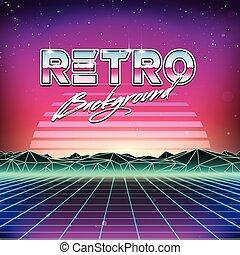 futurism, レトロ, 背景, sci, 80s, fi