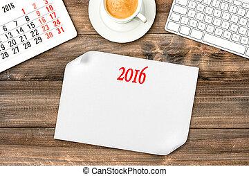 gadgets., 年, 2016., デジタル, 新しい, カレンダー, ビジョン