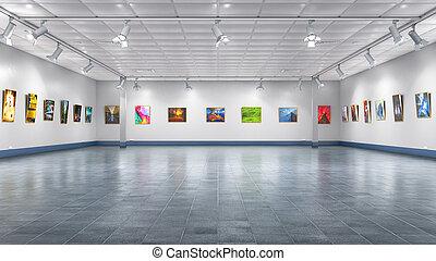 gallery., 内部, イラスト, 3d