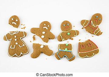 gingerbread, cookies., 壊される