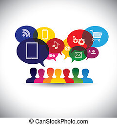 graphic., 媒体, チャット, 網, ネットワーキング, 消費者, アイコン, 媒体, -, コミュニケーション, また, オンライン ショッピング, 買い物, ユーザー, インターネット, グラフィック, 表す, 相互作用, これ, &, ベクトル, 社会, ∥あるいは∥