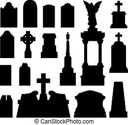 gravestone, headstone, シルエット