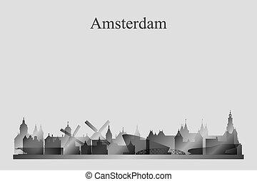 grayscale, アムステルダム, スカイライン, 都市, シルエット
