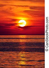 greece., crete, sunset.