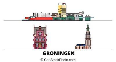 groningen, 平ら, illustration., 都市, ランドマーク, 有名, ベクトル, 光景, netherlands, 線, スカイライン, 旅行, design.