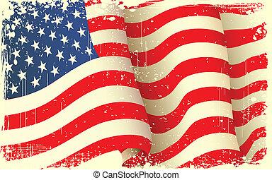 grungy, 振ること, アメリカの旗
