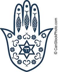 hamsa, ユダヤ人, -, お守り, 神聖, mir, ∥あるいは∥