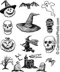 hand-drawn, セット, ハロウィーン