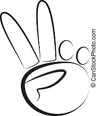 hand-peace, ロゴ, シンボル, ベクトル
