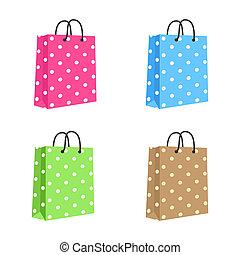 handles., brown., ピンク, set., ブランク, ロープ, 袋, ベクトル, ペーパー, 緑, 買い物, 隔離された, 青