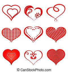 hearts., ベクトル, セット, 赤