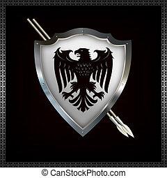 heraldic, 保護, spears.