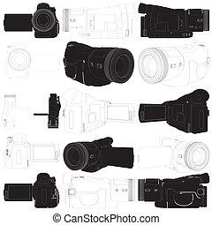 high-definition, カメラ, ビデオ