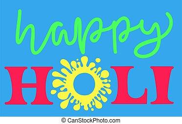 holi., illustration., lettering., ベクトル, 幸せ
