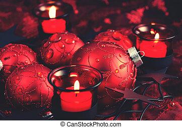 holiday., ボール, candles., クリスマス