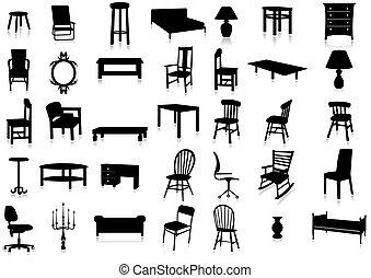 illustr, ベクトル, シルエット, 家具