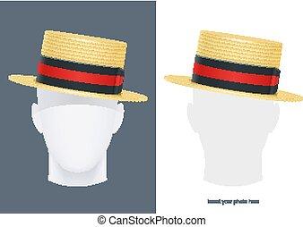 illustration., クラシック, わら, 型, ベクトル, ボーター, hat.