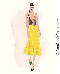 illustration., ファッション, ベクトル