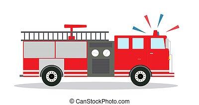 illustration., ベクトル, design., サイレン, トラック, 有色人種, 平ら, 火
