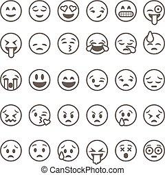 illustration., ベクトル, emoticons, 背景, 隔離された, 白, セット, アウトライン, emoji