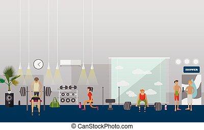 illustration., 人々, ジム, 仕事, 中心, banners., ベクトル, フィットネス, 内部, 横, から