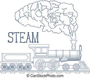 illustration., 型, 列車, ベクトル, 刻みなさい, 蒸気