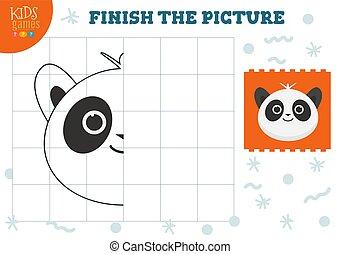 illustration., 幼稚園, ベクトル, 完了しなさい, コピー, ゲーム, 映像, 子供, 着色