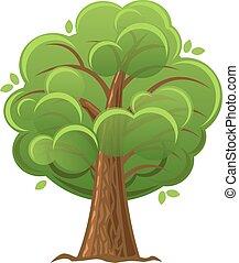 illustration., 木, オーク・ツリー, ベクトル, 緑, foliage., 漫画, luxuriant