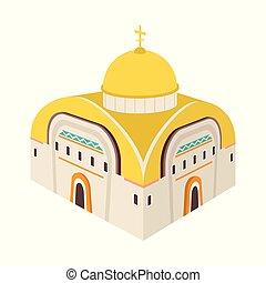 illustration., 正統, コレクション, ベクトル, デザイン, 教会, icon., チャペル, 株