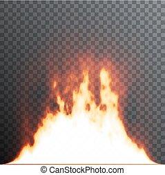 illustration., 炎, 現実的, 火, effects., バックグラウンド。, ベクトル, 格子, 特別, 透明度, elements., 透明, 半透明