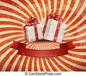 illustration., 贈り物, 型, boxes., 2, ベクトル, 背景, 休日, 赤