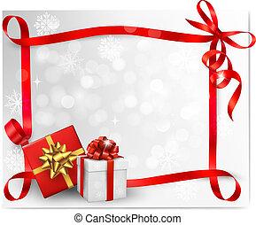 illustration., 贈り物, boxes., 弓, ベクトル, 背景, 休日, 赤