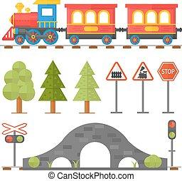 illustration., 鉄道, スチュワード, デザイン, 乗客, 駅, アイコン, セット, おもちゃの列車, 平ら, 概念, 鉄道