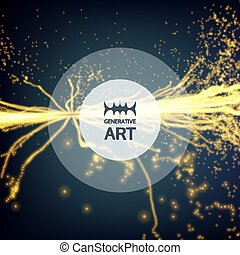 illustration., 電気, 抽象的, 動的, particles., effects., バックグラウンド。, 白熱, ベクトル, 照明, points., 配列, 技術, style., 未来派, 3d