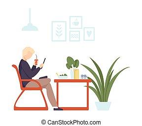 illustration., 飲み物, カクテル, 人, 顔つき, cafe., smartphone, ベクトル