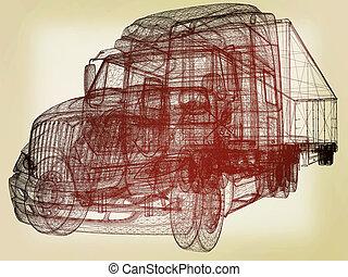 illustration., render, 自動車, trailer., 型, モデル, style., 3d
