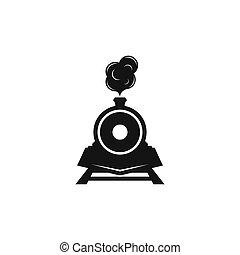 illutration, 機関車, アイコン, ロゴ, ベクトル, クラシック, 列車